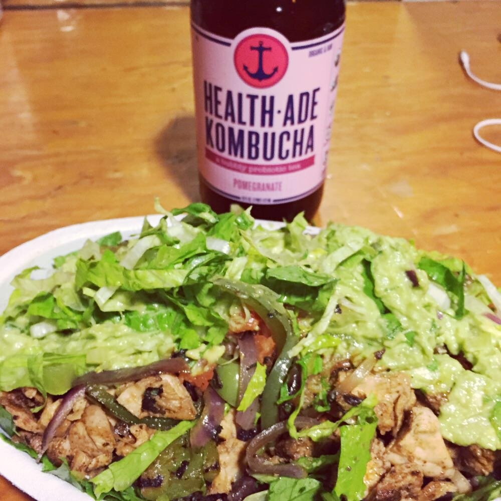 Solution to being on the go? Chipotle and kombucha of course.